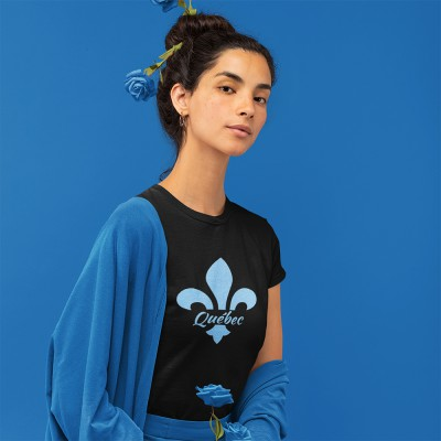 T-shirt noir Québec brillant