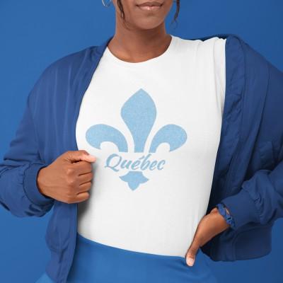 T-shirt blanc Québec brillant